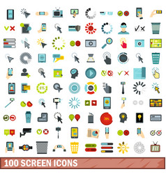 100 screen icons set flat style vector image