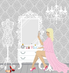 beautiful fashion woman in her boudoir vector image vector image