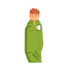 guy wrapped in blanket with hot drink having cold vector image vector image