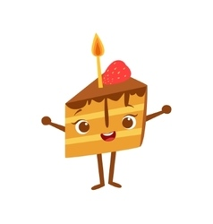 Piece Of Cake With Candle Kids Birthday Party vector image