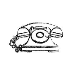 silhouette sticker color telephone icon vector image