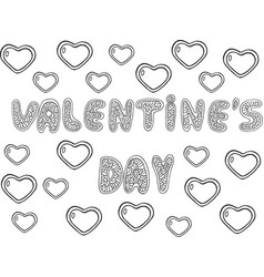 valentine s day - word lettering coloring page vector image