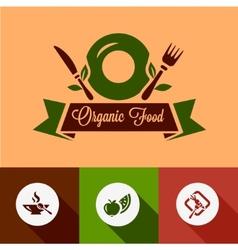 flat organic food icons vector image