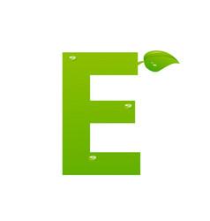green eco letter e illiustration vector image