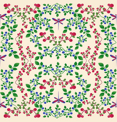 lingonberry blueberry seamless pattern vector image