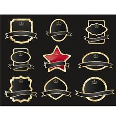 set of black gold-framed labels vector image