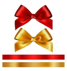 Shiny red and gold satin ribbon on white vector image