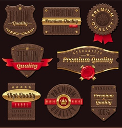 leather premium and quality labels vector image vector image