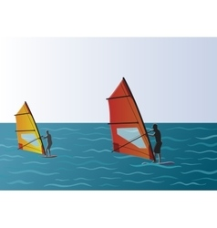 Windsurfing in the Sea vector image