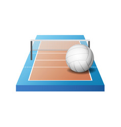 3d volleyball court with grid and white ball vector