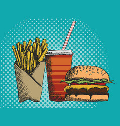 A hand drawn menu of junk food in vector
