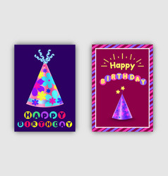 a set happy birthday greeting card with vector image