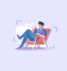 A young guy is sitting in a chair rest the vector