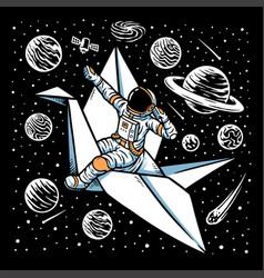 astronauts riding paper birds vector image