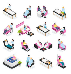 Beauty salon isometric icons vector
