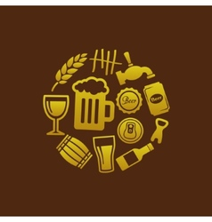 Beer icons in circle vector