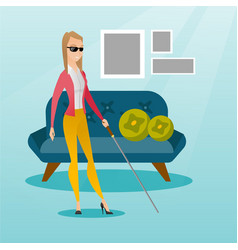 Blind woman with a stick vector