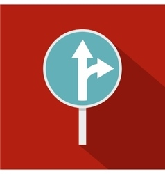 Blue straight or right turn ahead road sign icon vector