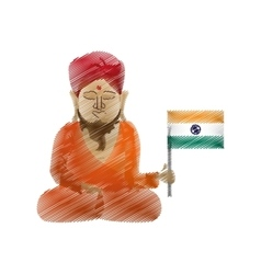 Buddha colored hand draw sitting with indian flag vector