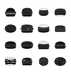 Burger icons set simple style vector
