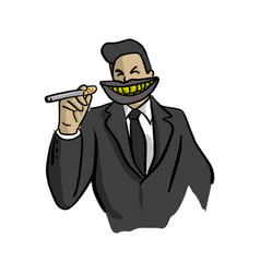 Businessman with big dirty mouth holding vector