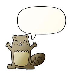 cartoon beaver and speech bubble in smooth vector image
