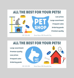 Cartoon pet shop banner or flyer set vector