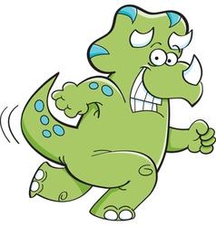 Cartoon triceratops running vector