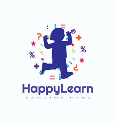 Child learn logo design kid education icon vector