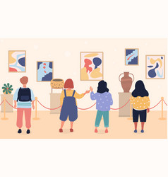 Children on excursion in museum vector