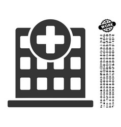 clinic facade icon with men bonus vector image