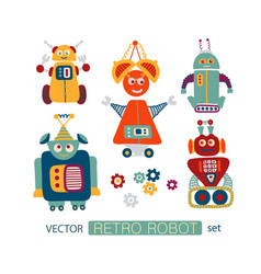 colorful clipart set with retro robots vector image