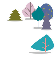 colorful trees on a white background vector image