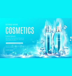 Cosmetics bottles in dry ice steaming cubes mockup vector