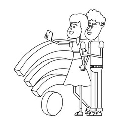 couple taking a selfie isometric concept in black vector image