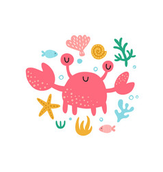 cute crab in ciircle vector image