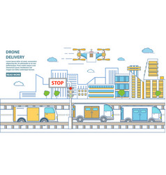 drone delivery horizontal banner in flat vector image