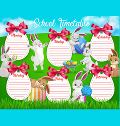Education school timetable cartoon easter bunnies vector