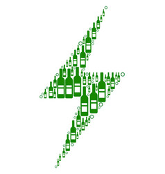Electric bolt composition of wine bottles vector