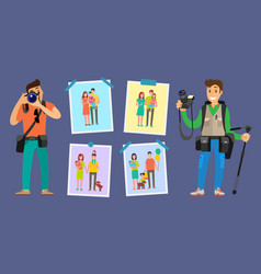 family photographers with cameras taking photos vector image