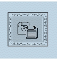 Flat about vintage diskette design vector
