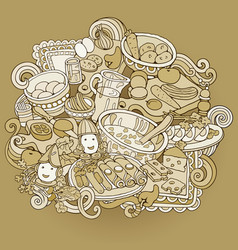 food hand drawn doodles vector image