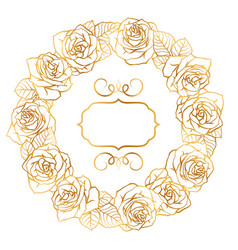 frame with outline roses beautiful flowers and vector image