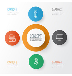 gadget icons set collection of wireless router vector image