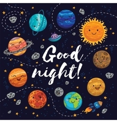 Good night - hand drawn poster with planets stars vector