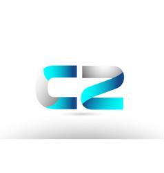 Grey blue alphabet letter cz c z logo 3d design vector
