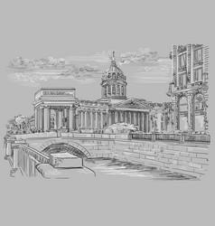 grey hand drawing st petersburg 5 vector image