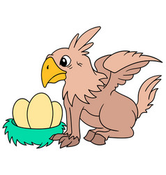 Griffins hippogriff tending to eggs his vector