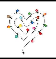 Heart love light bulb wedding vector