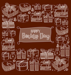Holiday gift boxes and text happy boxing day vector